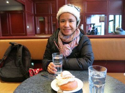 Panny trying the Semla in Stockholm, Sweden