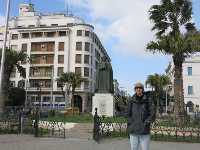 Outside the Ibn Khaldoun statue at Independence Square