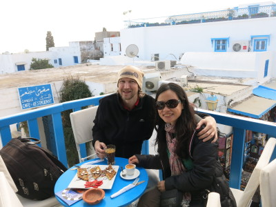 Enjoying an afternoon snack and drink in Sidi Bou Said