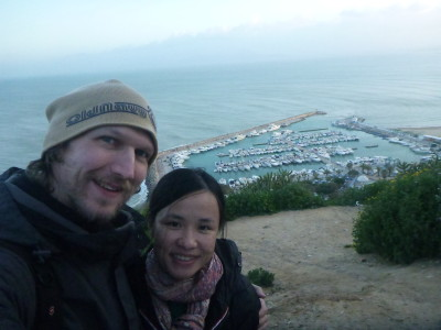 Panny and I at a marvellous viewpoint in Sidi Bou Said