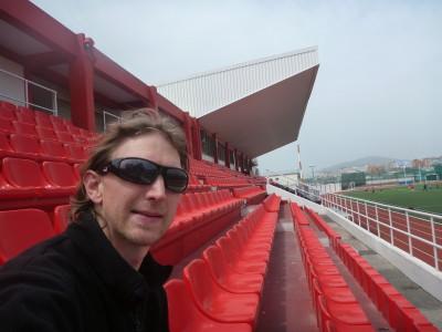 Inside the National Football Stadium in Gibraltar