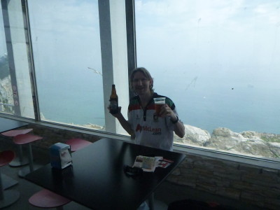 Having a Gibraltar Beer in the Cafe at the Top of the Rock