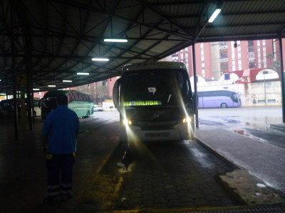My onward bus to Malaga in Spain