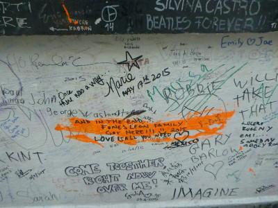 Graffiti on the wall at Abbey Road