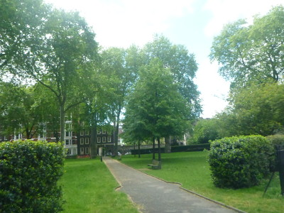 Charterhouse Square - the park which Poirot's flat faces onto
