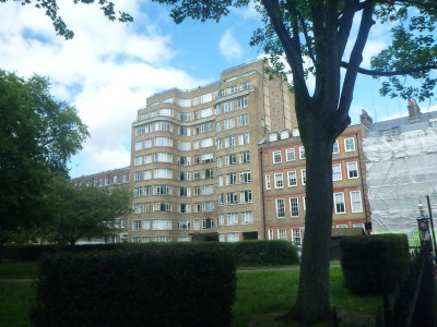 Charterhouse Square with Poirot's flat in behind