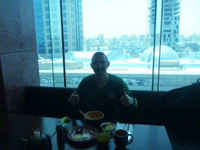 Enjoying my incredible extended breakfast at the Hotel Ibis Salmiya, Kuwait.