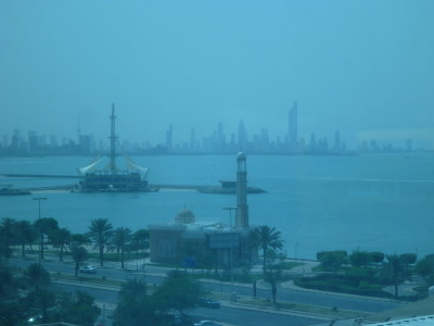 The splendid view of the Gulf from my room at Ibis Hotel Salmiya