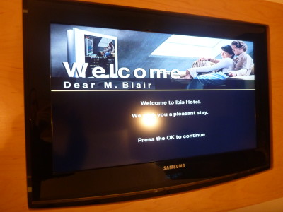 Welcome sign on my hotel room TV
