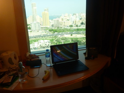 My working desk at the Ibis Hotel Sharq