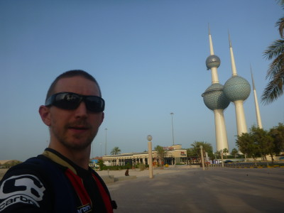 Checking out the famous treble towers of Kuwait City.