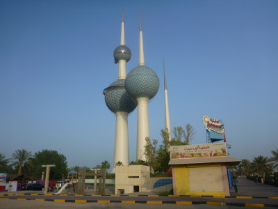 The hat trick of Kuwait Towers by the Arabian Gulf