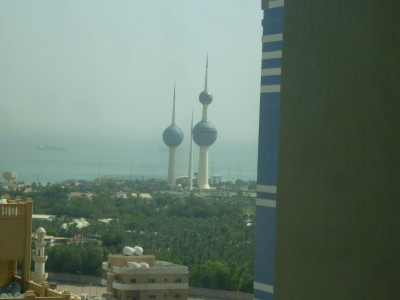 View of the Kuwait Towers from the Ibis Sharq