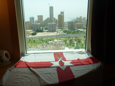 Flying the Northern Ireland flag in Kuwait.