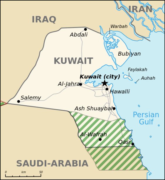 "Kuwait borders Iraq and Saudi Arabia and there is also a ""neutral zone"""