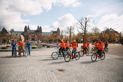 The winners on bikes in Amsterdam, Netherlands!