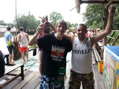 Chaz and I partying in the river bars of Vang Vieng