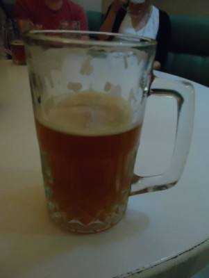 A pint of home brewed North Korean beer at the Brewery bar in Yanggakdo Hotel