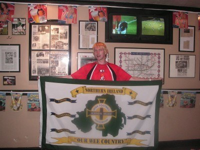 By the George Best Shrine in the Underground Bar and Grill