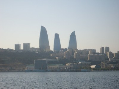 Baku's iconic Flame Towers hat-trick as viewed from our cruise on the Caspian Sea.