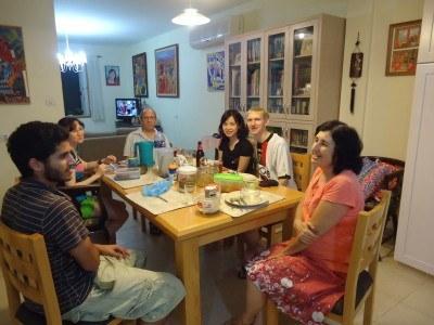 Dinner with the family in Mizra Kibbutz