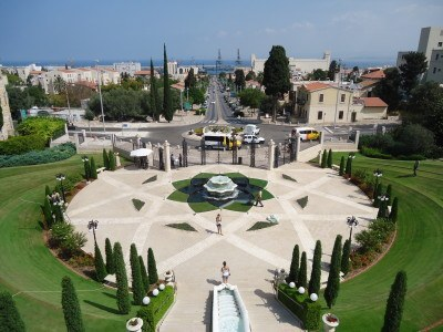 The gardens at the lower entrance to the Bahai Shrine and Gardens