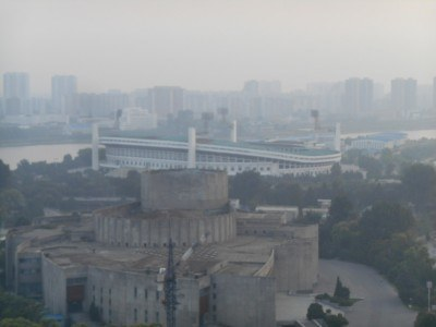 The football stadium on Yanggak Island