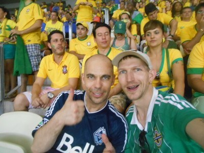 Watching Brazil v. Mexico with Dorian, from Winnipeg.