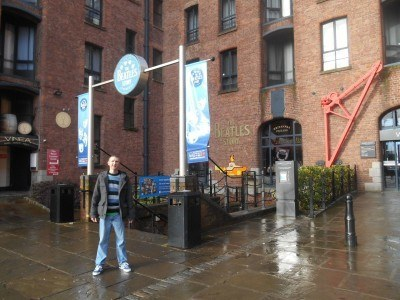 Outside the Beatles story at Albert Dock, Liverpool