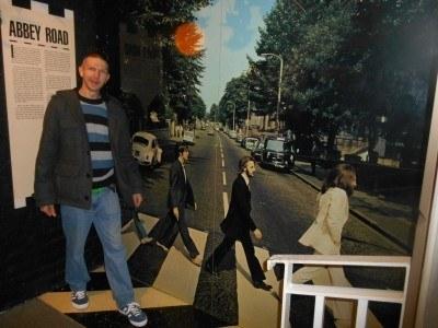 Crossing a mock Abbey Road
