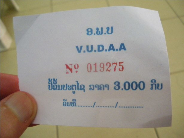 Bus ticket from Vientiane to Vang Vieng