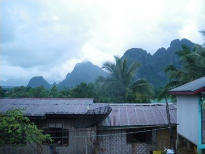 The views of the mountains from Vang Vieng