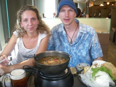 Natalja and I enjoying our hot pot in the city of Tainan, 2009