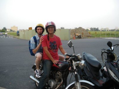 Motorbiking through Tainan and Anping with my friend Gilbert Sun