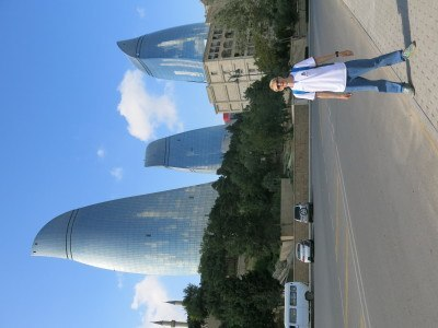 In front of Baku's flame towers (I have tried to turn the photo round but can't)