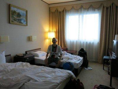 In our room 2425 in the Yanggakdo Hotel in Pyongyang, North Korea