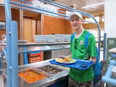 Choosing my buffet lunch in Mizra Kibbutz