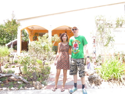 With Mayrav in the front garden - it's a hot piercing sun!