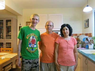 With my welcoming hosts Caroline and Yoram in Mizra Kibbutz.
