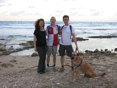 On the beach in Haifa walking Paul, Alex and Natali's dog.