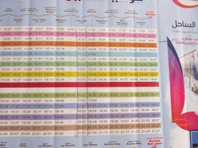 Train timetable to Mahdia