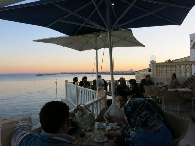 Sunset at Cafe Sidi Salem in Mahdia, Tunisia