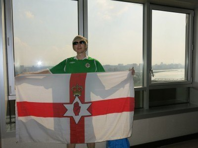 Flying the Northern Ireland flag in the hotel
