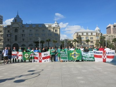 Travelling Northern Ireland fans in Azadliq Square, Baku