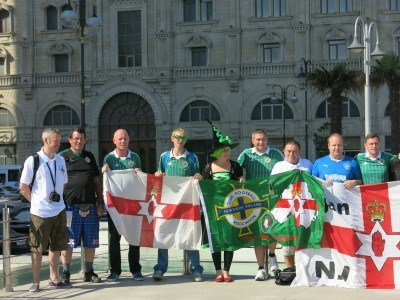The Green and White Army (Northern Ireland fans) in Azadliq Square.