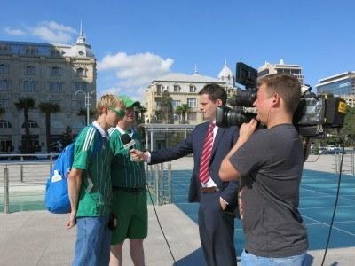 Being interviewed with Shaun Schofield in Azadliq Square