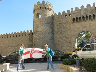 Nial and I flying the Northern Ireland flag at the Old City Walls and Gate, Baku