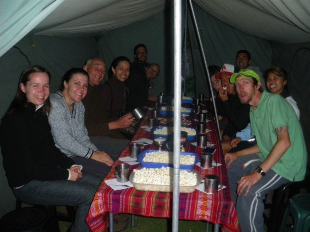 At one of our campsites on the Inca Trail in Peru, 2010