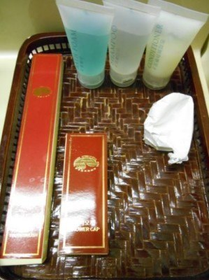 North Korean toiletries - free shower gel, shampoo and toothbrush