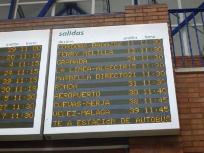 PLatfrom number 14 for the bus to La Linea de la Concepcion